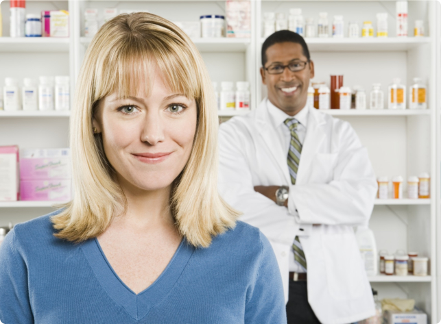 Pharmacy customer and a pharmacist